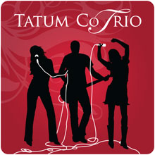 Tatum Co Trio band logo with red background and black silhouettes.