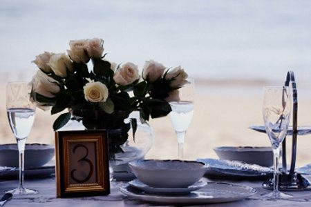 Event table setting with dinnerware and roses by Bluebird Style and Decorate