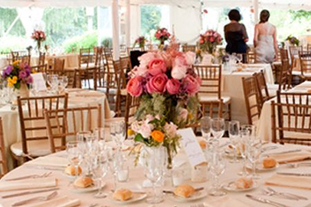 Hoorah Events photo of styling and decorating wedding reception area.