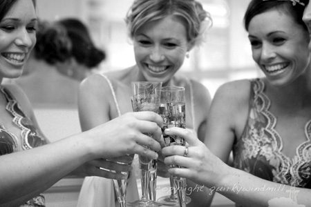 Wedding photography of bride and bridesmaids by Quirkywindmill, South Coast wedding photographer.
