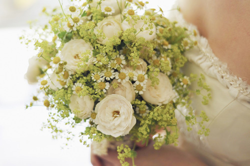 Bridal bouquet chosen for flower meanings.