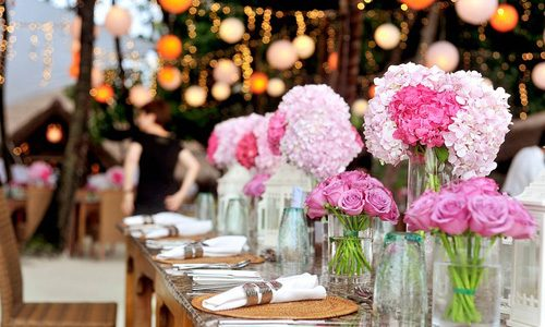 Garden wedding theme wedding reception table styling.