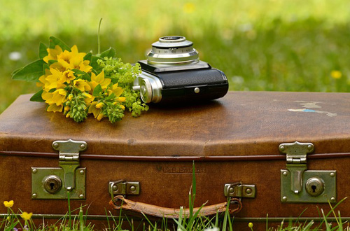Long distance wedding guests luggage. Brown suitcase and camera with yellow flower bouquet.