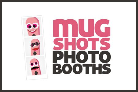 Pink and black business logo for photo booth business Mugshots Photo Booths
